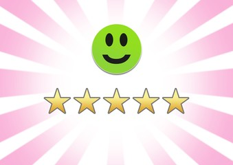 smiley face and 5 star feedback review rating