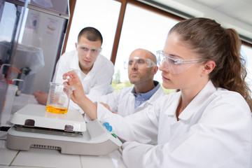 laboratory students and teacher