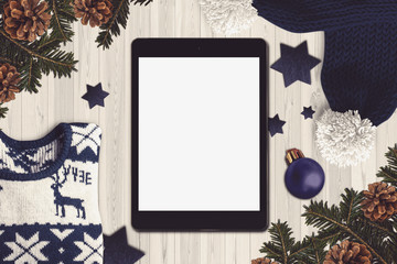 Tablet in a christmas scene