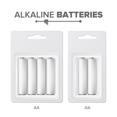 AA Batteries Packed Vector. Alkaline Battery In Blister. Realistic Glossy Battery Accumulator. Mock Up Good For Branding Design. Closeup Isolated Illustration