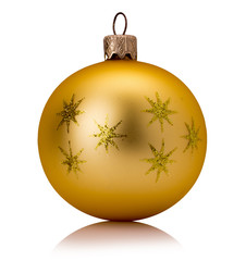 golden Christmas tree ball isolated on a white background