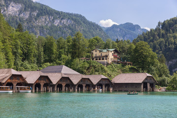Boathouses and hotel at Konigssee near Berchtesgaden in German alp mountains