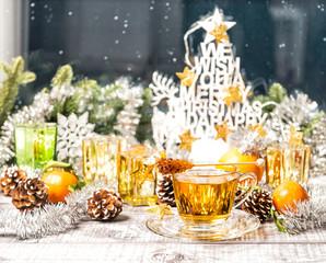 Hot tea Christmas window decoration Winter food drinks