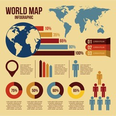 world map infographics and information graphics detail vector illustration