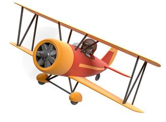 3d Männchen im Flugzeug als Freisteller