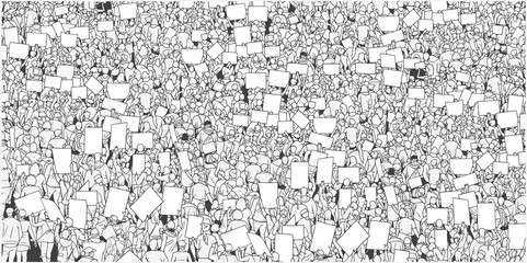 Illustration of massive crowd protest with blank signs