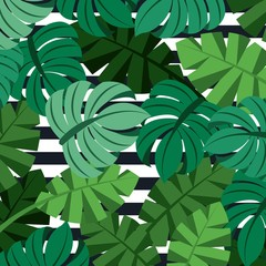 tropical palm leaves jungle leaves seamless floral pattern stripes background vector illustration