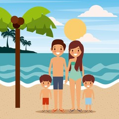 family wearing swimsuits in the beach sea landscape vector illustration