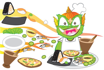 Chef serving International food is Thai cartoon character design