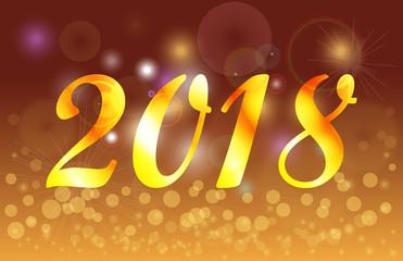 Happy New Year 2018 golden celebration background banner.