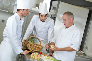 interns of the chef observing his work