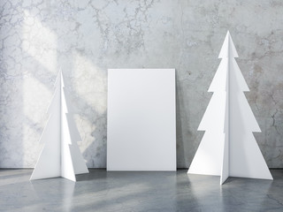Vertical Poster Canvas Mockup with two christmas tree in concrete interior, 3d rendering
