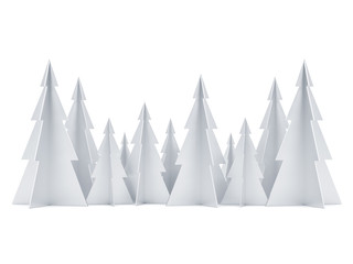 Silver colored Merry Christmas Tree forest on white, 3d rendering