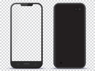 Smart Phone Front and Back View With Transparent Screen