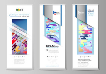 Roll up banner stands, flat design templates, abstract style, corporate vertical vector flyers, flag layouts. Bright color colorful minimalist backdrop with geometric shapes, minimalistic background.