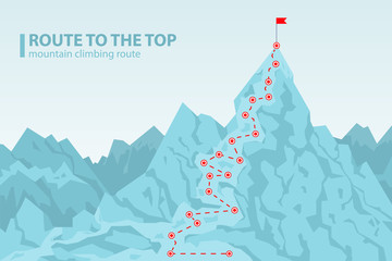 Route to the top mounting climbing vector illustration Wall mural