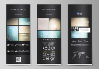The black colored vector illustration of the editable layout of roll up banner stands, vertical flyers, flags design business templates. Chemistry pattern with molecule structure. Medical DNA research