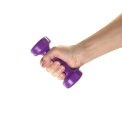 Objects Hands action - Hand holds Violet dumbbell. Isolated