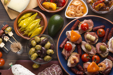 Spanish tapas on table