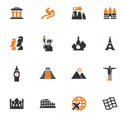 Travel and Wonders icons set
