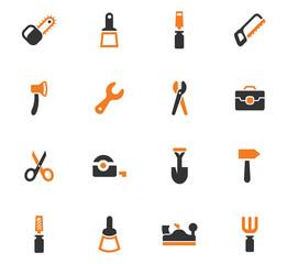 Work tools orange icons set