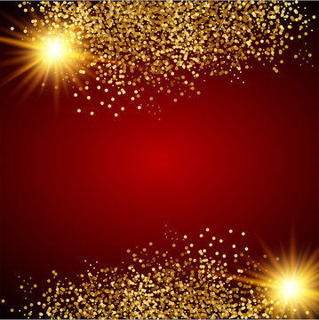 Vector illustration of red and gold luxury background