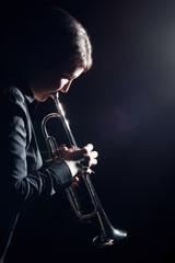 Autocollant pour porte Musique Trumpet player jazz musician