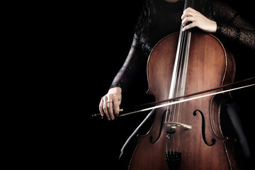 Photo sur Aluminium Musique Cello player. Cellist hands playing cello