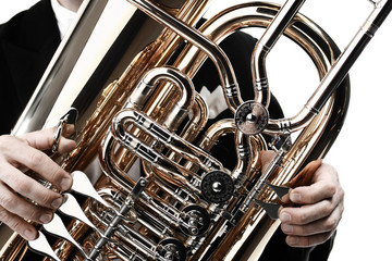 Photo sur Aluminium Musique Tuba brass instrument. Wind musical instruments