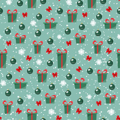 Seamless background with christmas presents and glass balls. Pattern