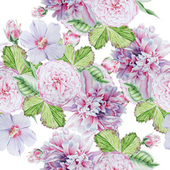 Bright seamless pattern with flowers. Peony. Rose. Hibiscus. Watercolor illustration. Hand drawn.