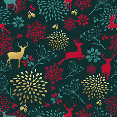 Christmas gold deer decoration seamless pattern