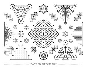 Sacred geometry style symbol set. Sacral geometric outline signs isolated on the white background. Line art elements. Editable stroke. Paths are not expanded. EPS 10 linear design vector illustration.