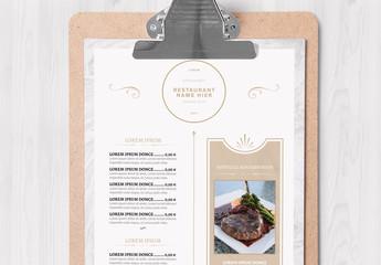 Marmoriertes Restaurant-Speisekartenlayout