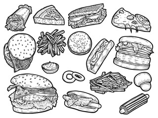 engraving stock photos and royalty free images vectors and  fast food set