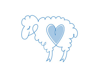 Sheep sketch icon for web mobile and infographic.