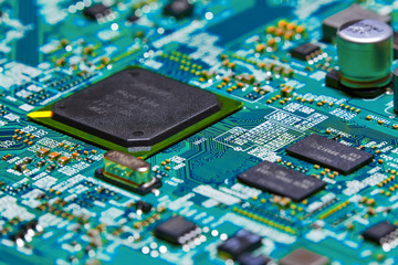 Electronic circuit board close up.