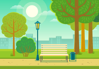 Vector illustration of a beautiful summer city park with town building background, path, bench and street lamp.