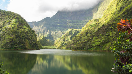Fotorolgordijn Meer / Vijver Tahiti in French Polynesia, Vaihiria lake in the Papenoo valley in the mountains, luxuriant bushy vegetation