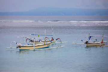 Traditional balinese fishing boats in Bali, Indonesia