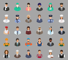 Big set of people avatars with different occupation. Employee and workers faces characters.