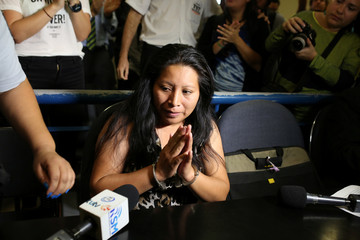 Teodora del Carmen Vasquez waits in a court of justice for a sentence review hearing in San Salvador