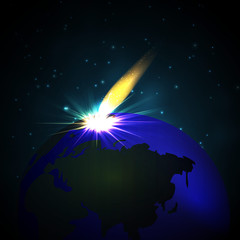 meteor shower falls to the ground. Space
