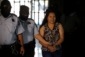 Teodora del Carmen Vasquez arrives to a court of justice for a sentence review hearing in San Salvador
