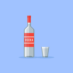 Classic bottle and shot glass of vodka isolated on blue background. Flat style vector illustration.