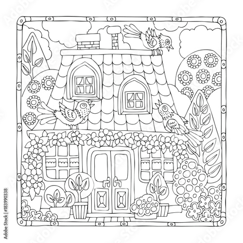 Hand Drawn Fairy House With Birds In Frame Sketch For Anti Stress Adult Coloring
