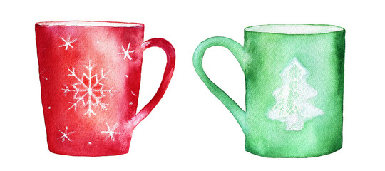Set of two different mugs, red and green, decorated with snowflake and fir tree patterns. Friendly conversation, chatting. Hand drawn watercolour holiday illustration, isolated, white background.