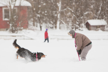 A man and a dog enjoy snow after the first lake-effect snowfall of the season at Knox Farm State Park in the Buffalo suburb of East Aurora
