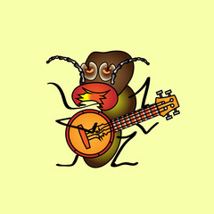 A hungry termite who plays the banjo. Vintage