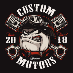 Biker Bulldog biker t-shirt design (color version)